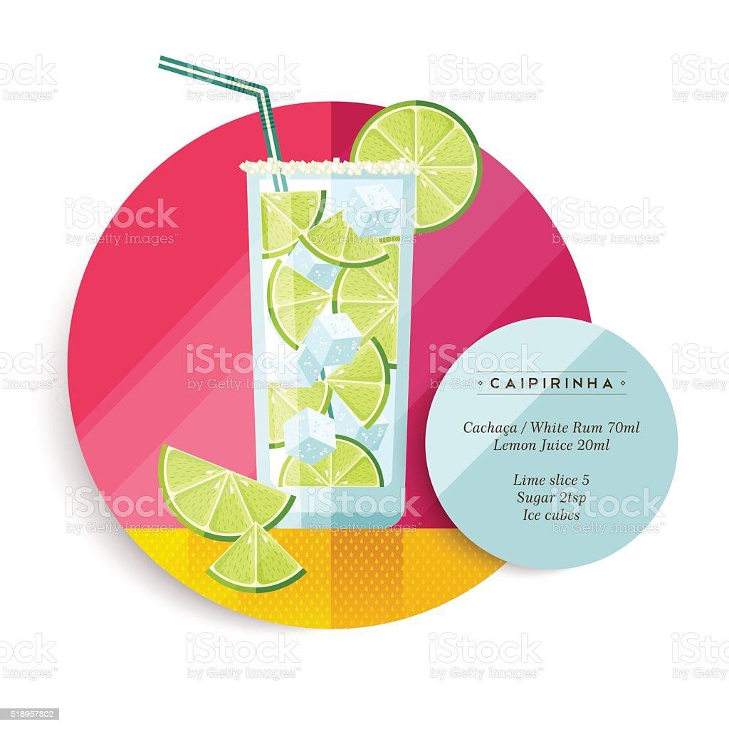 Caipirinha cocktail drink recipe for party vector art illustration