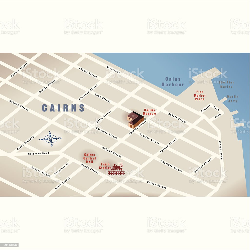 Cairns, Qld, Australia Map vector art illustration