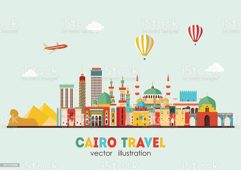 Cairo detailed skyline. Vector illustration vector art illustration