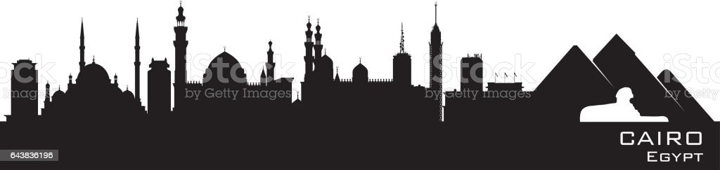 Cairo Egypt city skyline silhouette vector art illustration