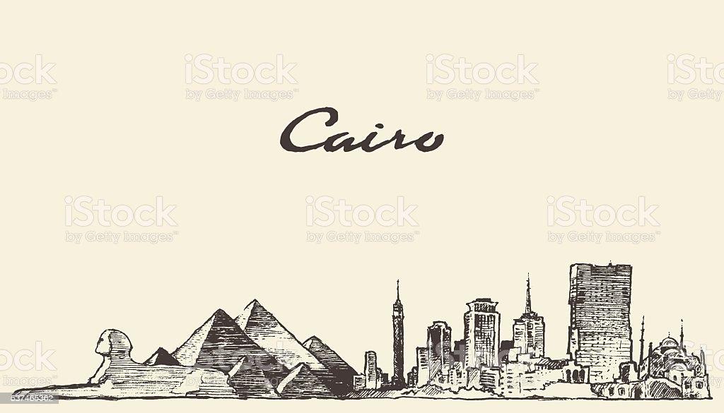 Cairo skyline Egypt illustration drawn sketch vector art illustration