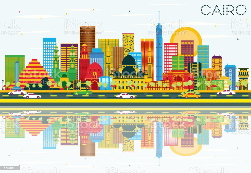 Cairo Skyline with Color Buildings, Blue Sky and Reflections. vector art illustration