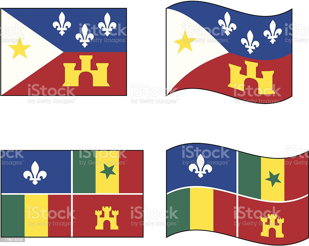Cajun and Creole Flags vector art illustration
