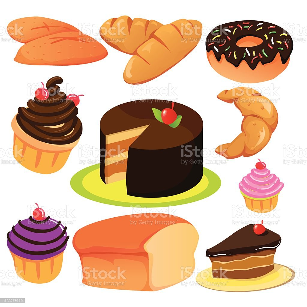 Cake and Bread Collection vector art illustration