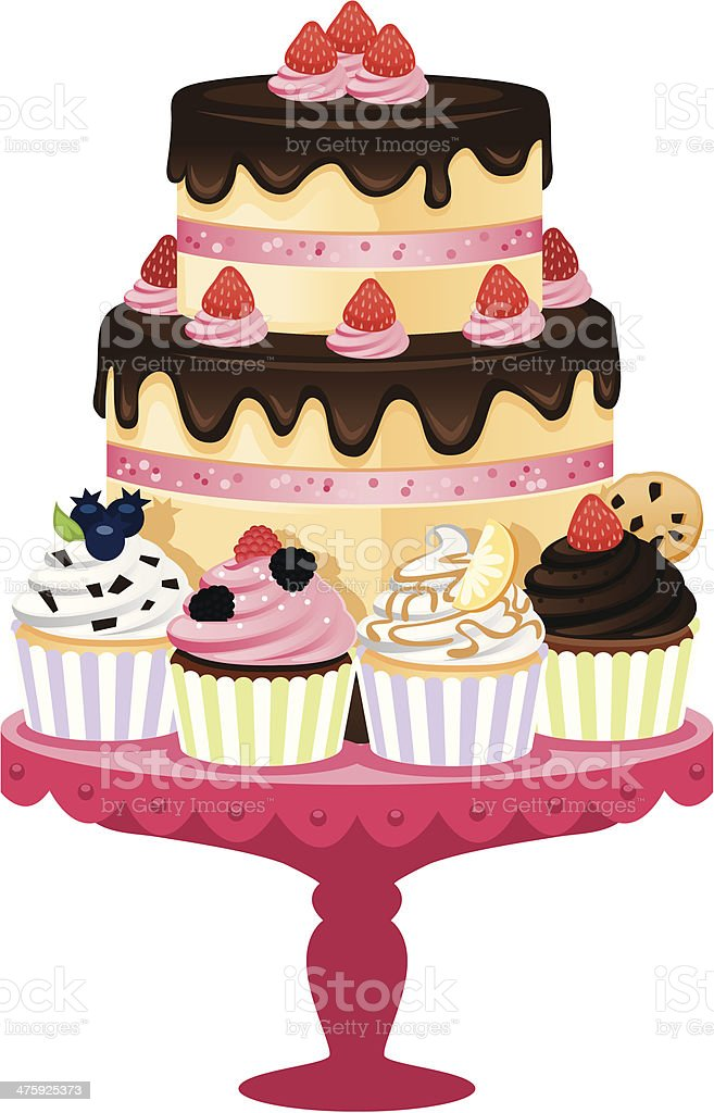 Cake and Cupcake Tray vector art illustration
