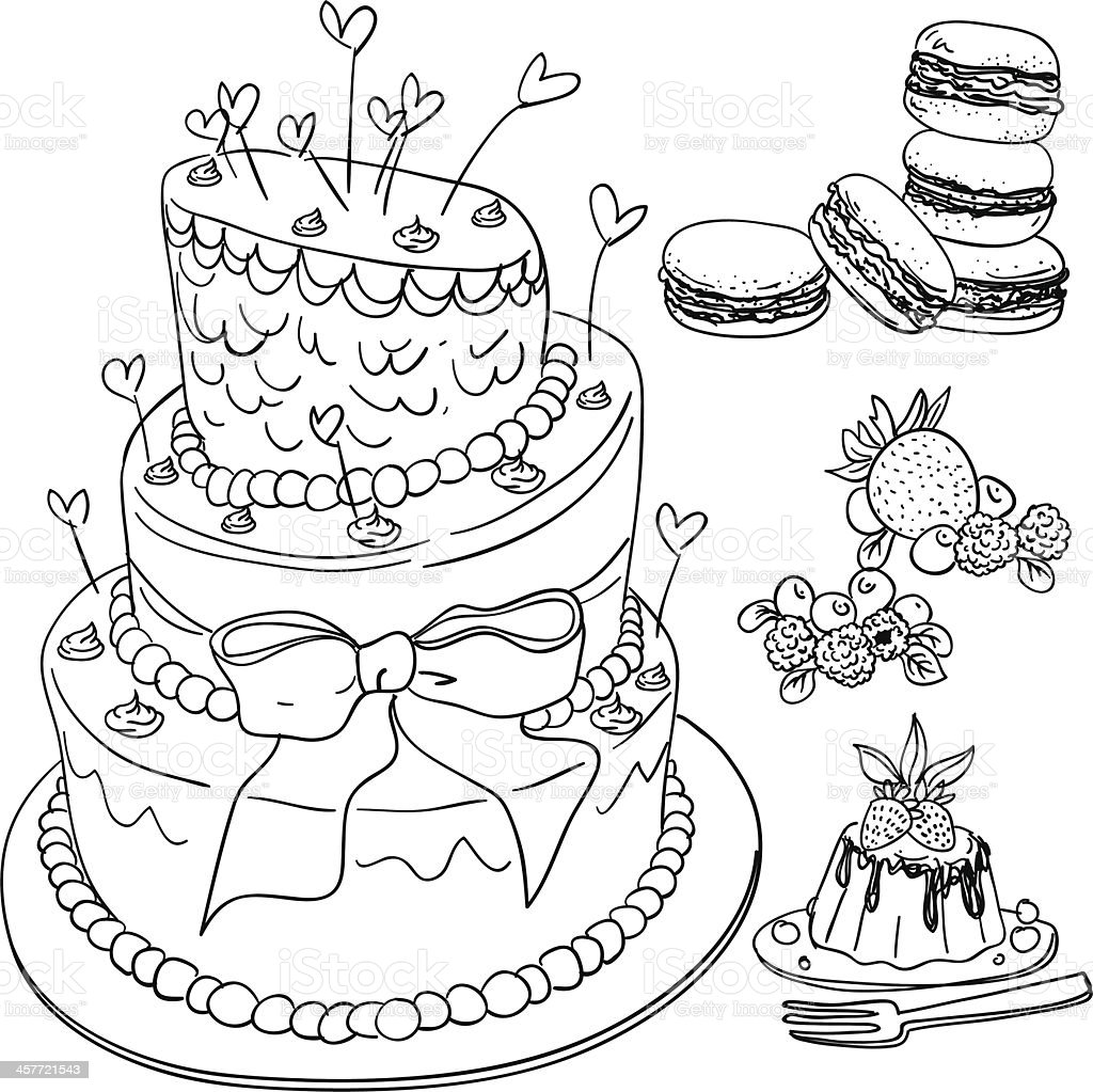 Cake and dessert collection vector art illustration