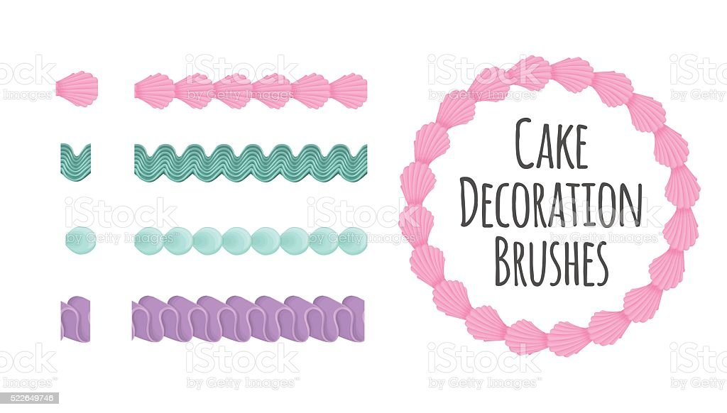 Cake and dessert seamless decoration brushes. vector art illustration