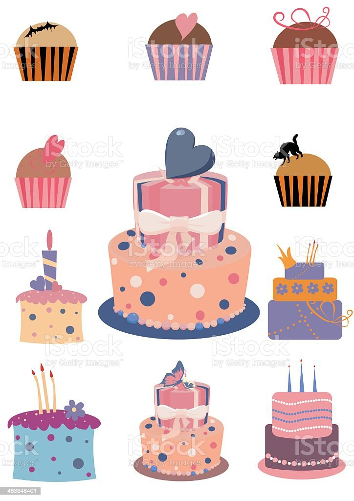 cake and muffin royalty-free stock vector art