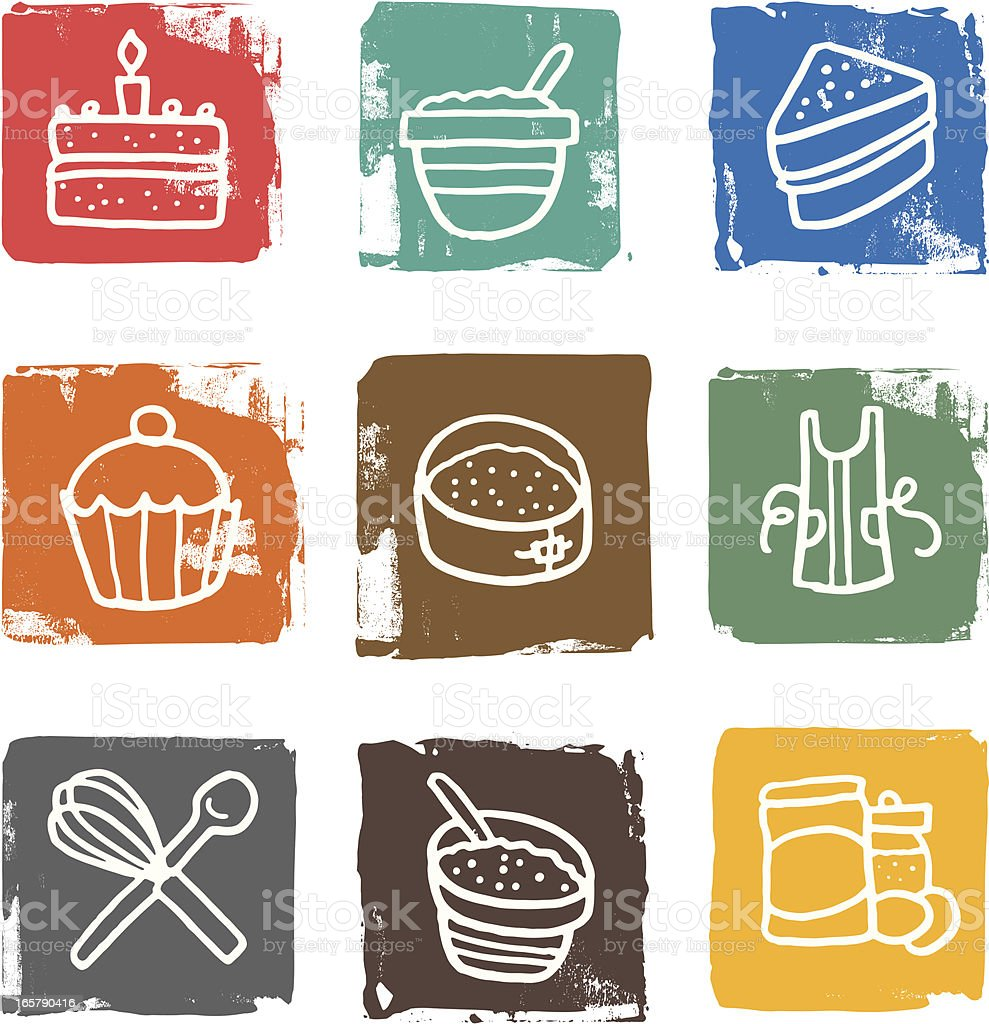 Cake and related objects block icon set royalty-free stock vector art
