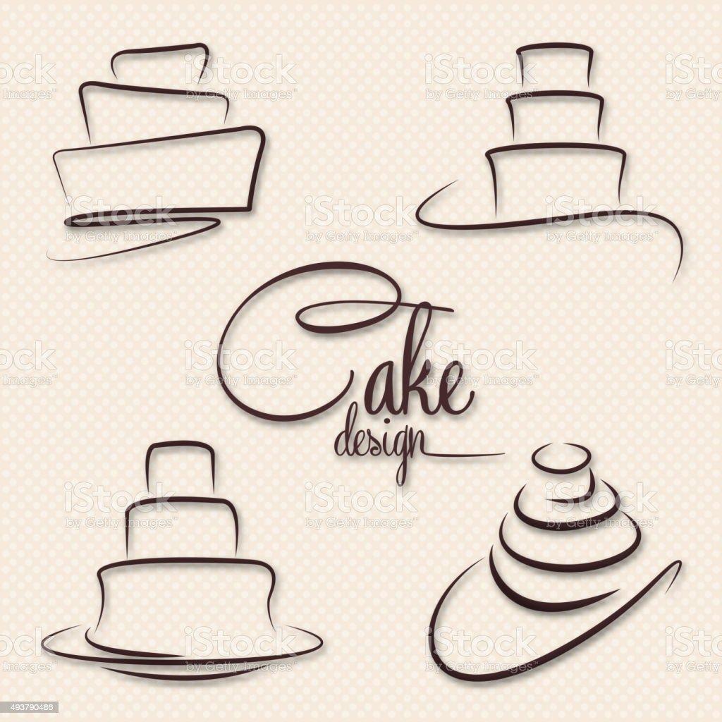 Cake Design Vector vector art illustration