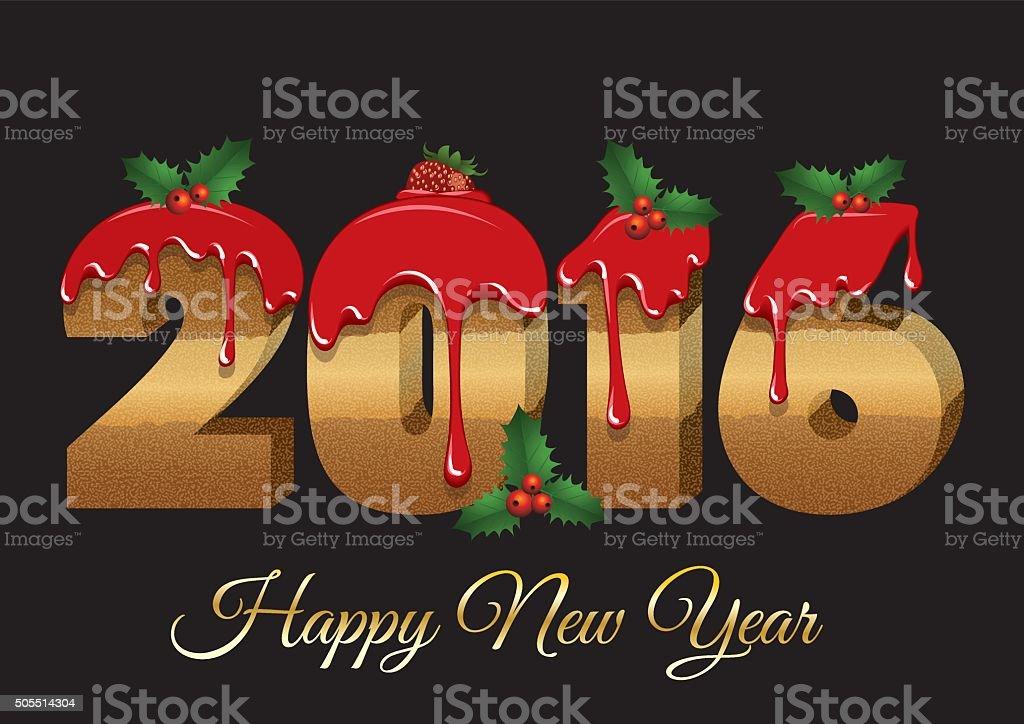 Cake font - Happy New Year 2016 vector art illustration