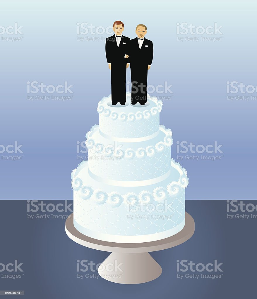 Cake for Two Grooms vector art illustration