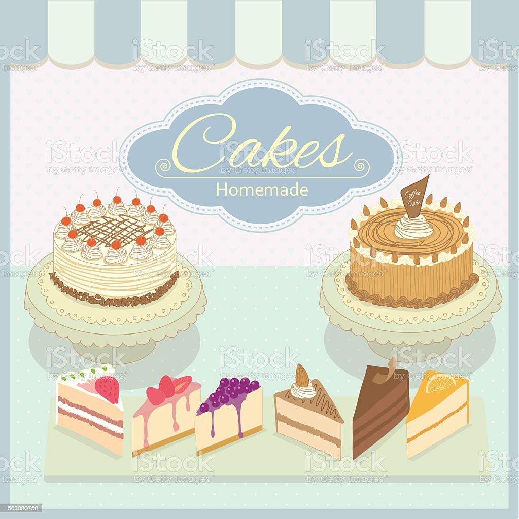 cake homemade blue vector art illustration