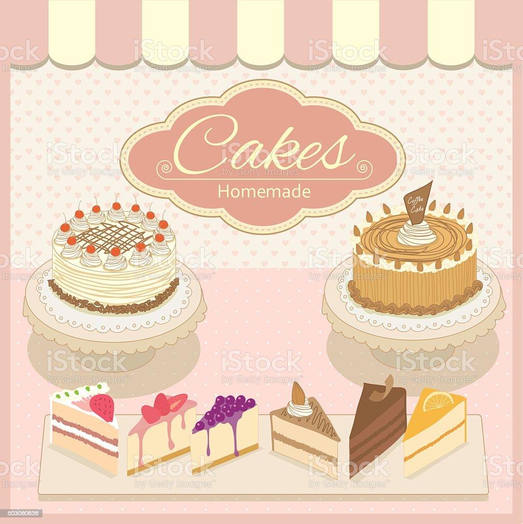 cake homemade pink vector art illustration