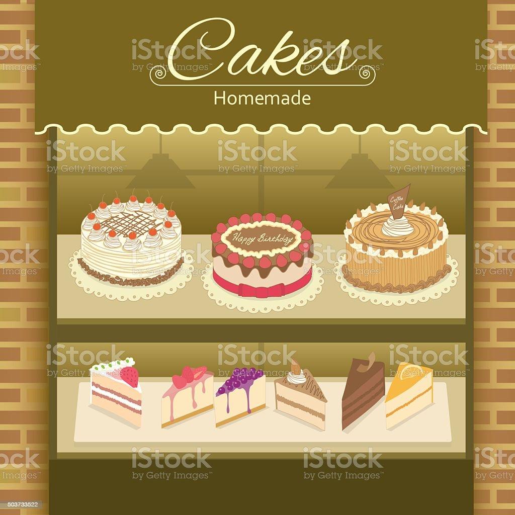 cake homemade vector art illustration