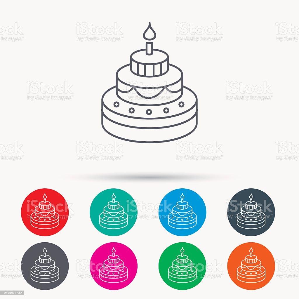Cake icon. Birthday delicious dessert sign. vector art illustration