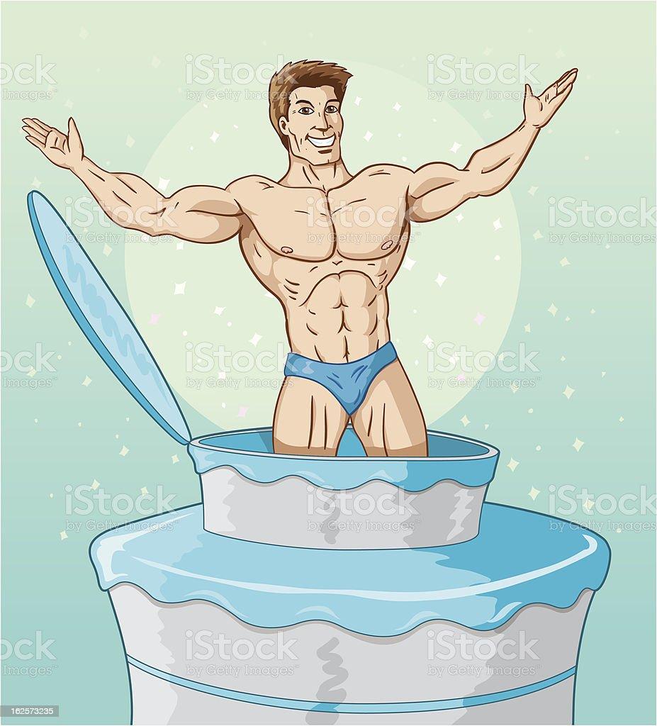 Cake man vector art illustration