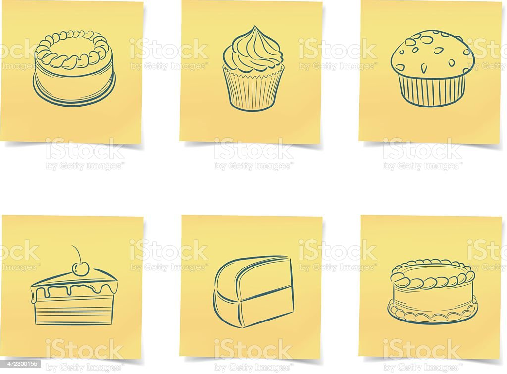 cake post-it notes royalty-free stock vector art