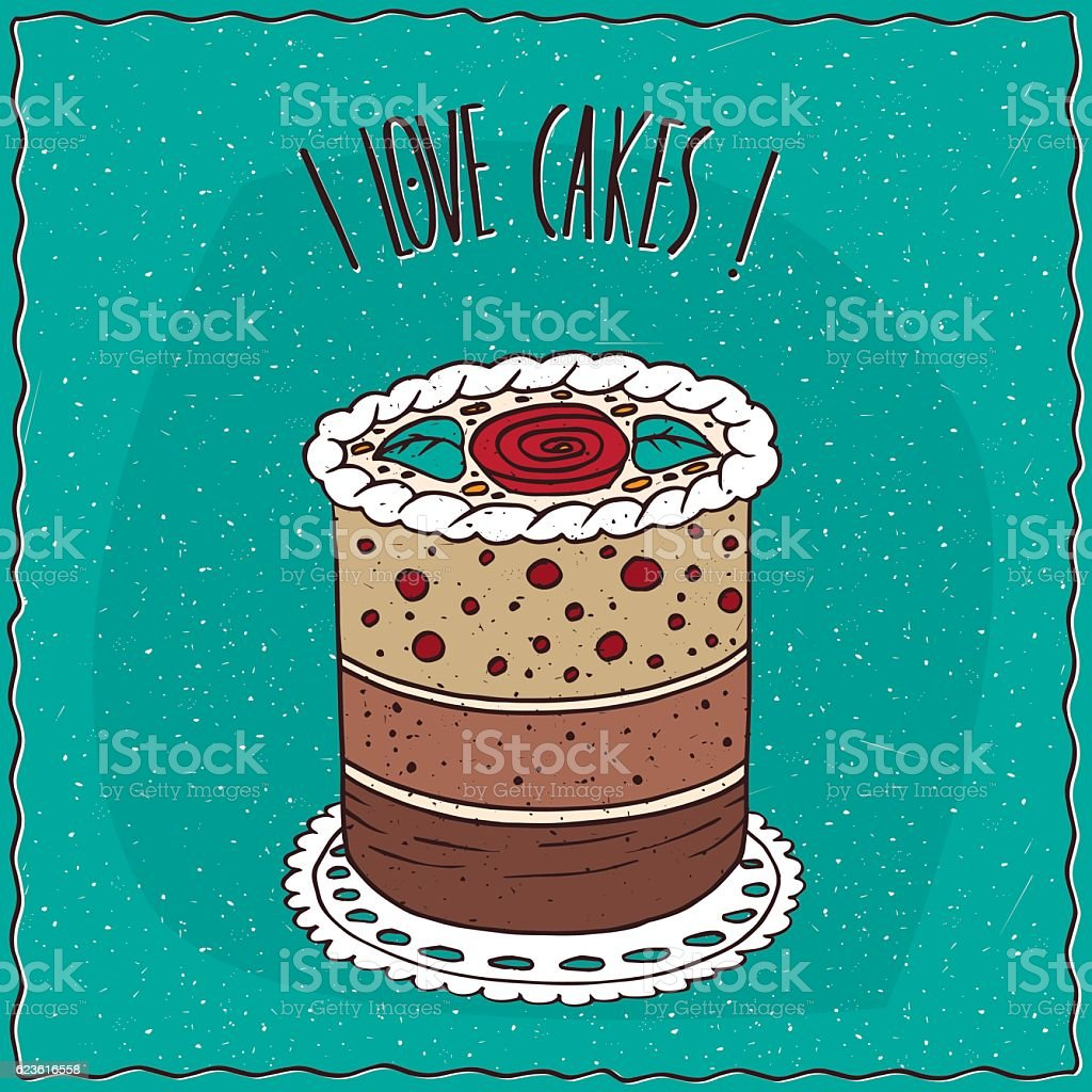 Cake round shape decorated with cream vector art illustration
