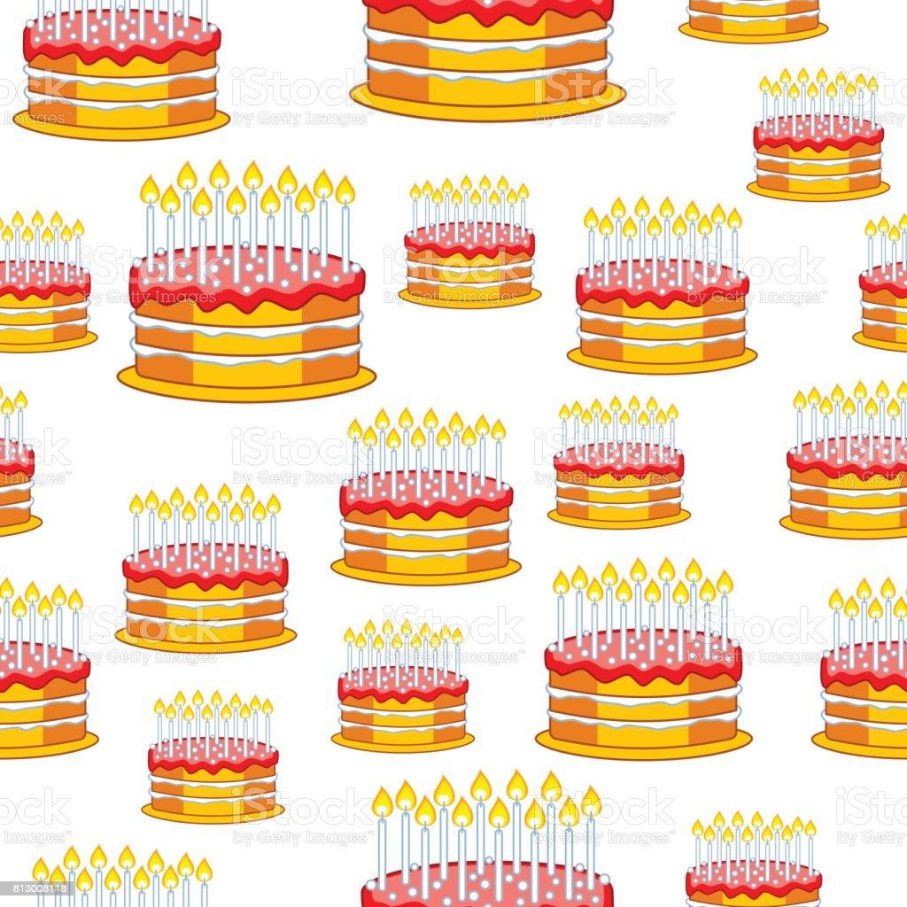 Cake seamless pattern vector art illustration