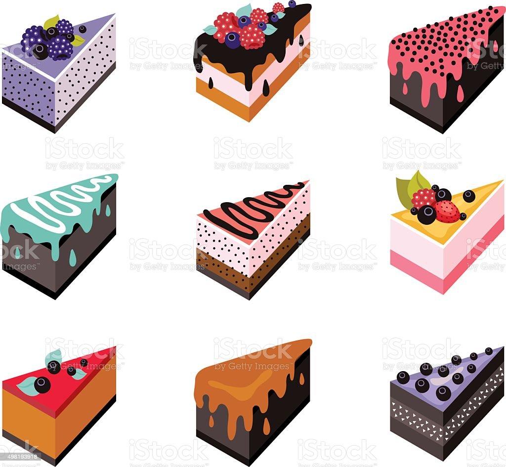 Cake set Isometric flat design web icon collection Delicious dessert vector art illustration