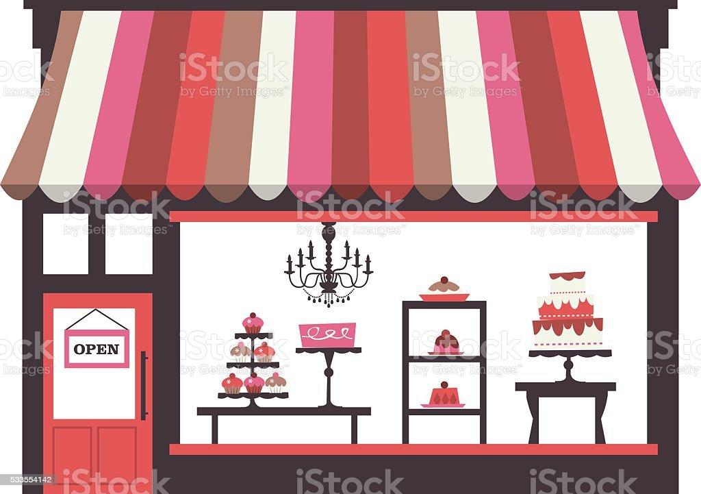 Cake Shopfront vector art illustration