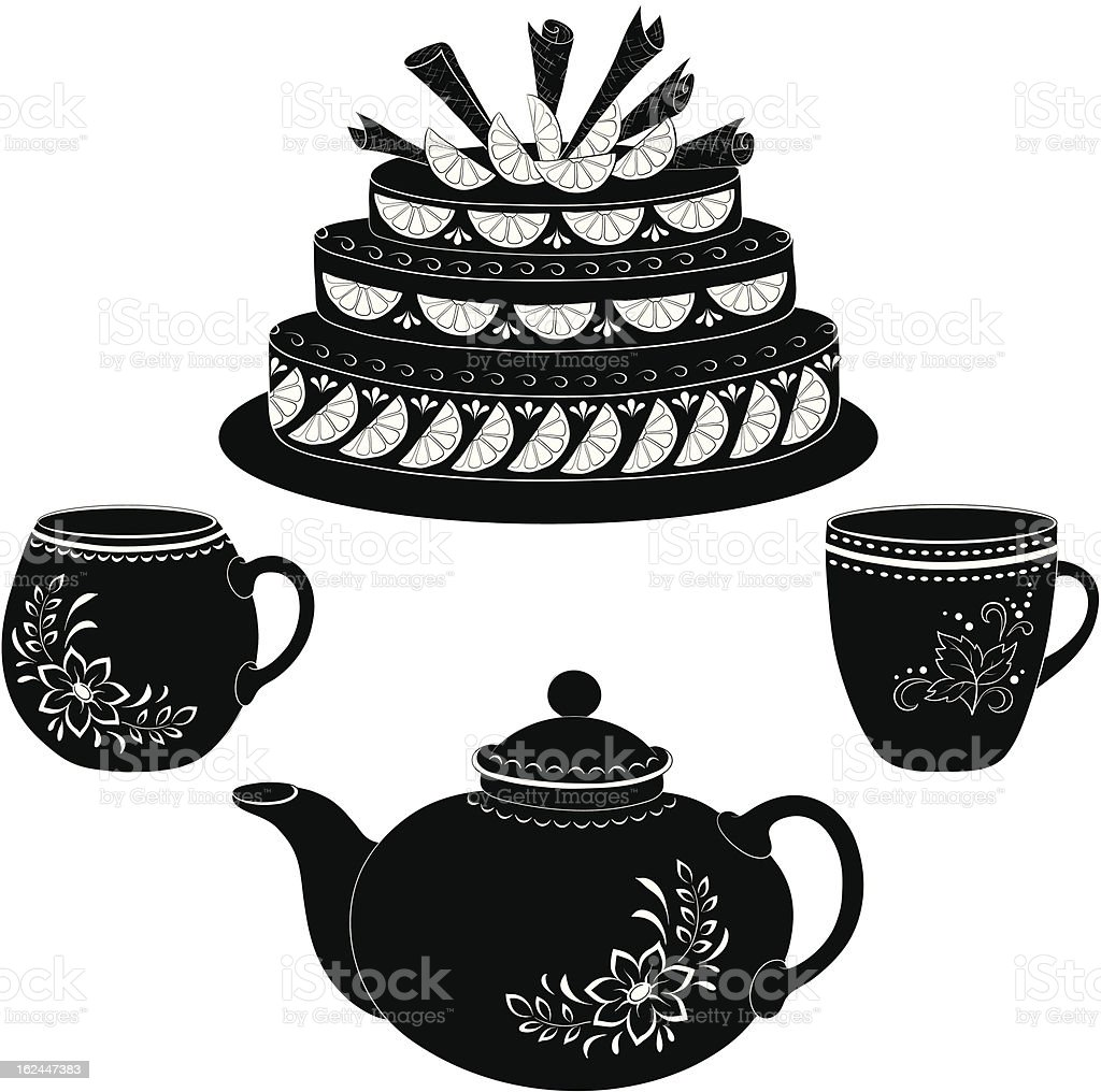 Cake, teapot and cups, contours royalty-free stock vector art