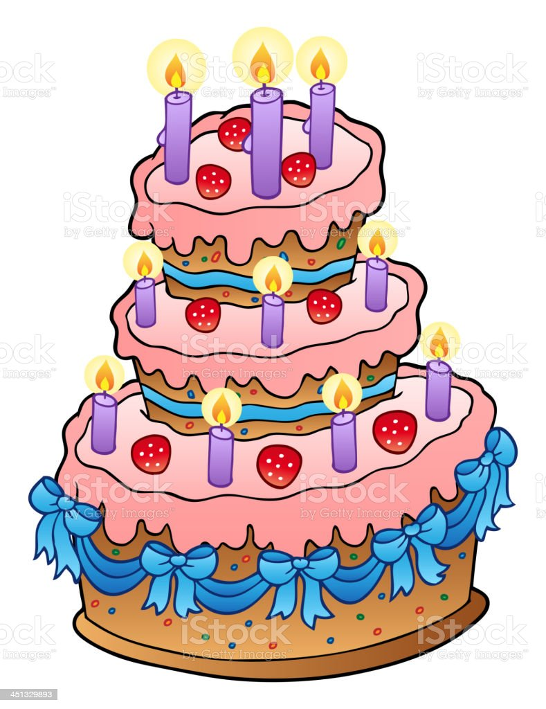 Cake with candles and ribbons royalty-free stock vector art