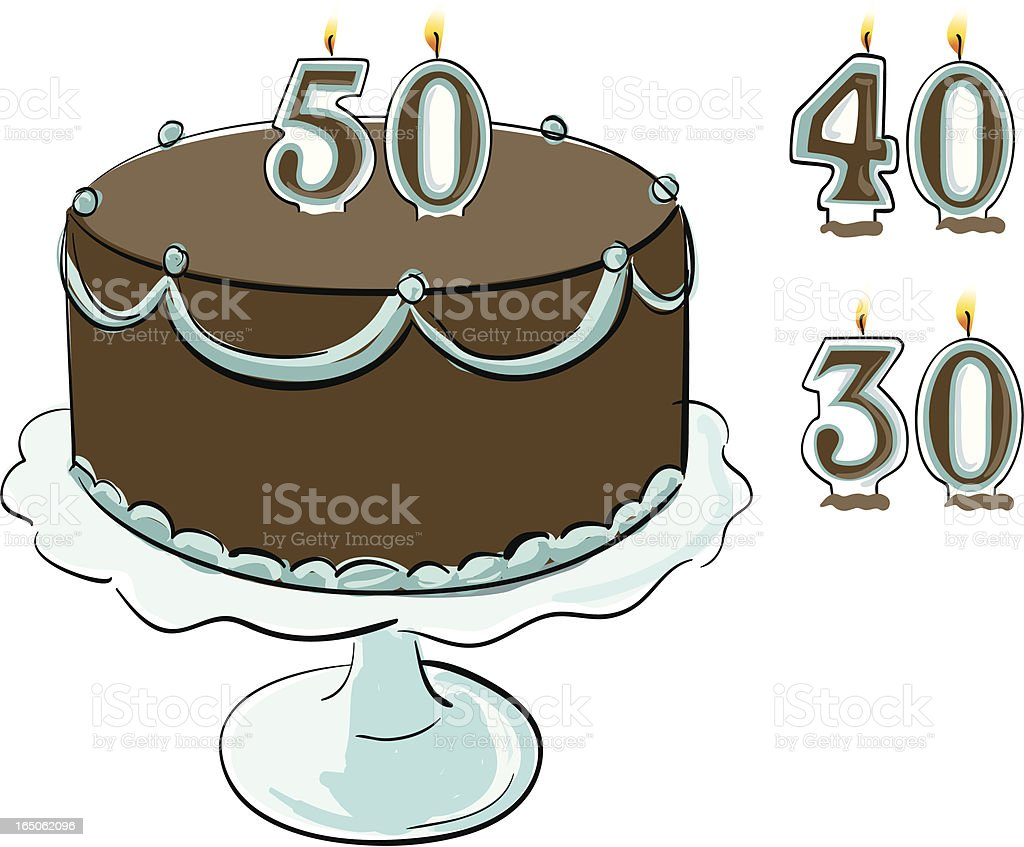 Cake with Candles vector art illustration