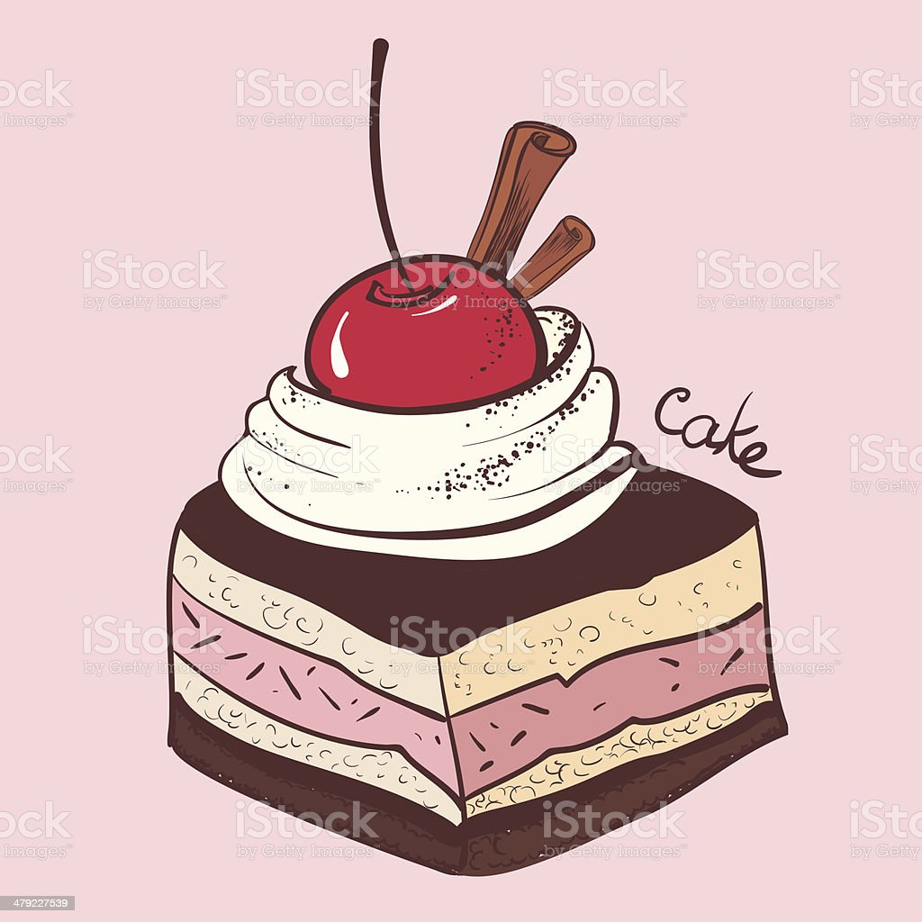 cake with cherries royalty-free stock vector art