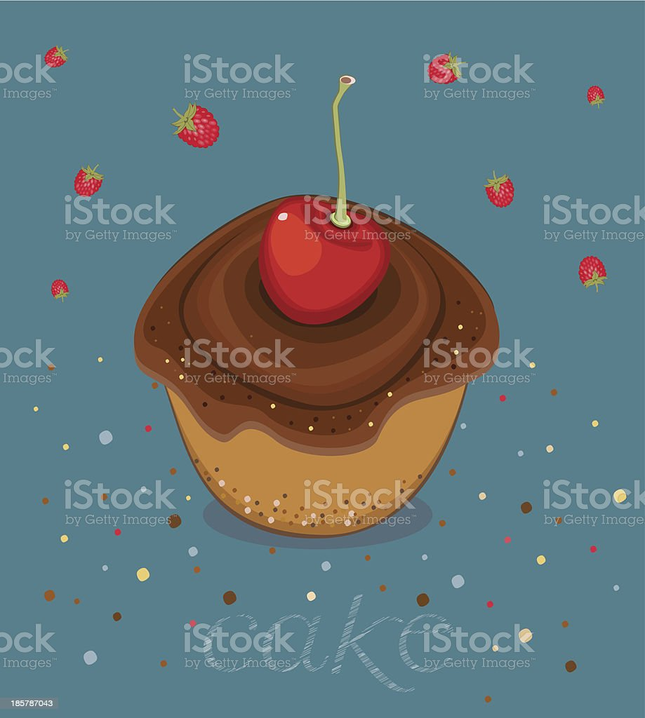Cake with Chocolate Cream and Ripe Cherry vector art illustration