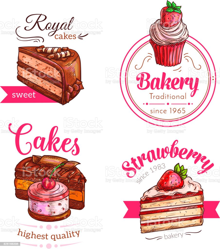 Cakes and cupcakes dessert vector emblems vector art illustration
