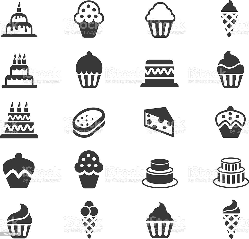 Cakes and Cupcakes icon set vector art illustration