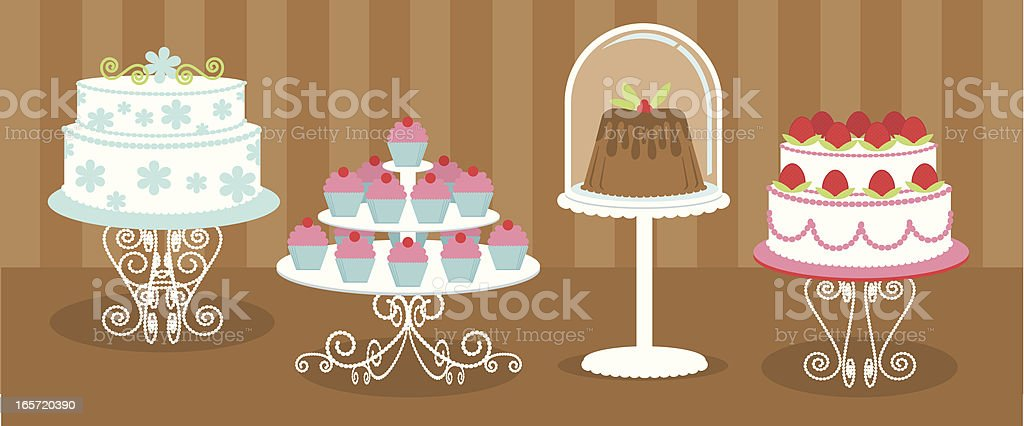 Cakes and Cupcakes vector art illustration
