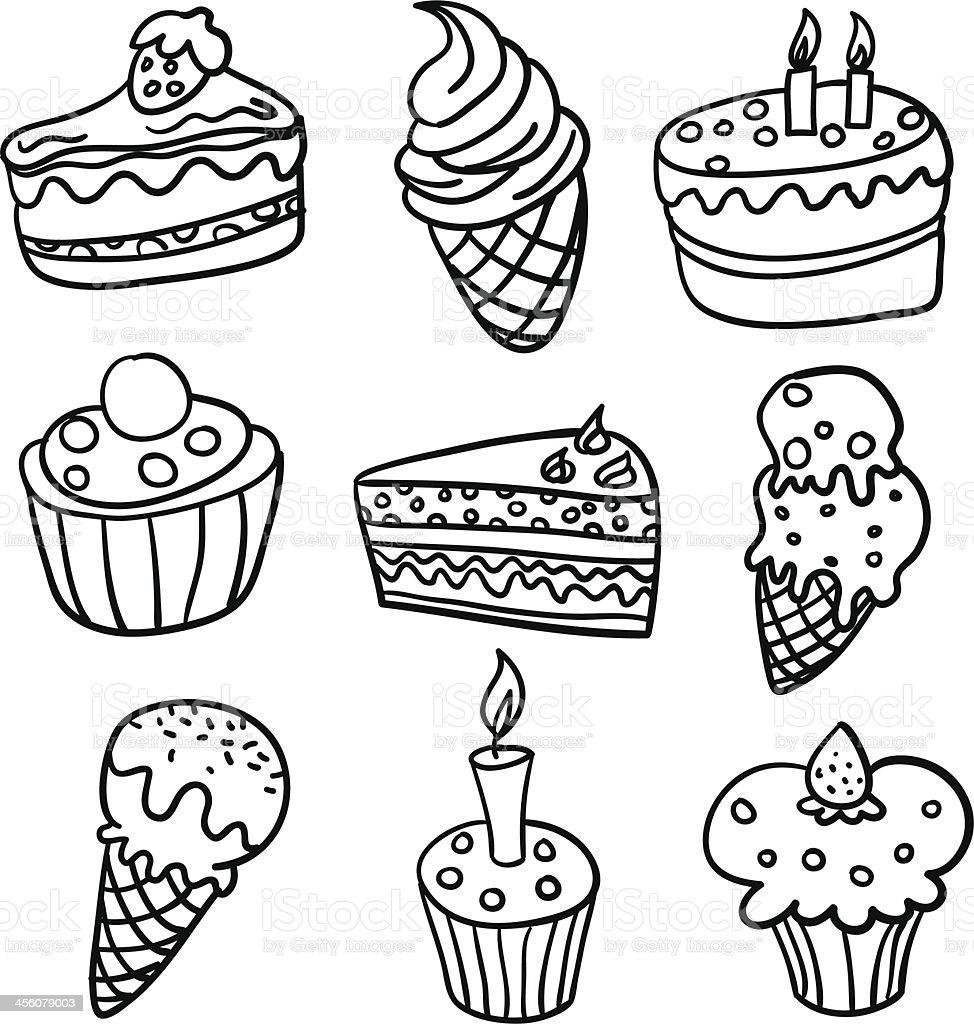Cakes collection in Black and White vector art illustration