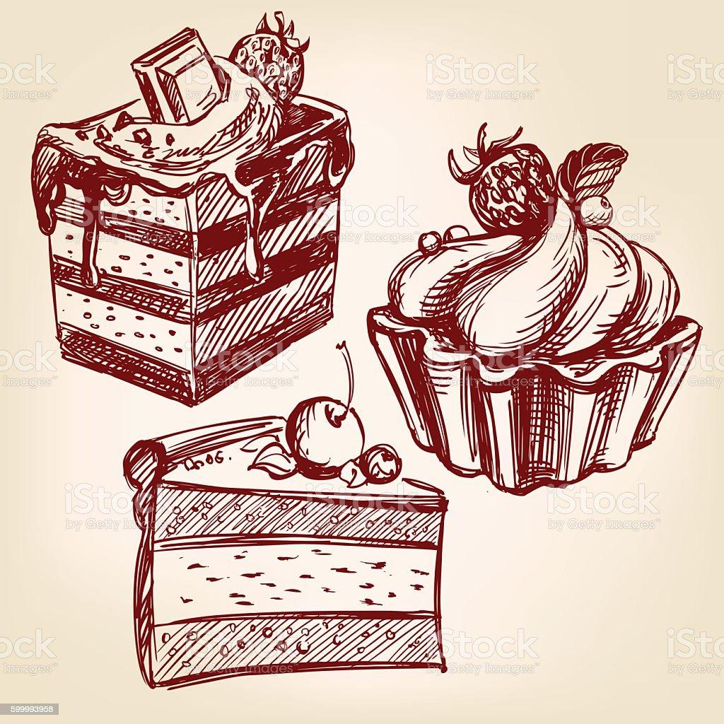 cakes fast food set hand drawn vector llustration sketch vector art illustration