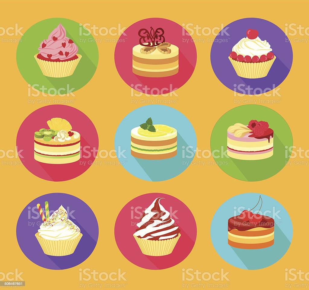 Cakes icon set vector art illustration