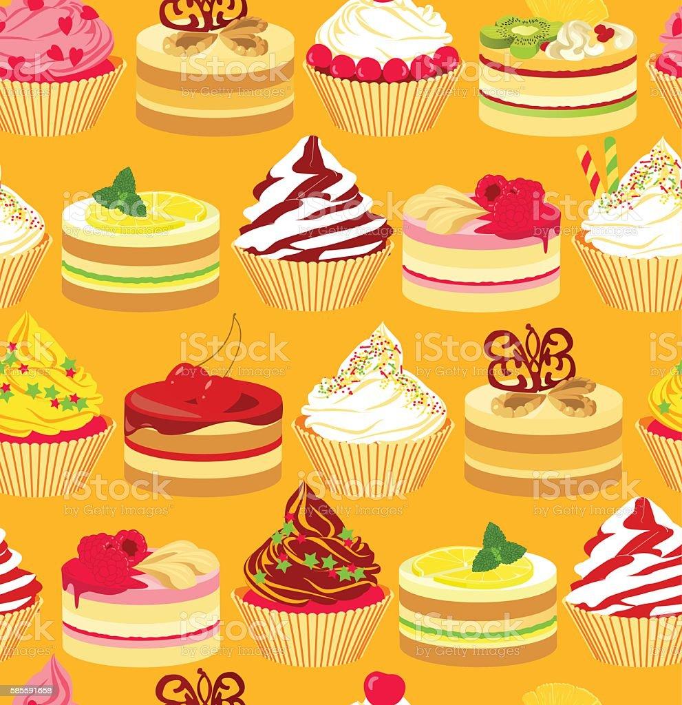 Cakes seamless pattern vector art illustration