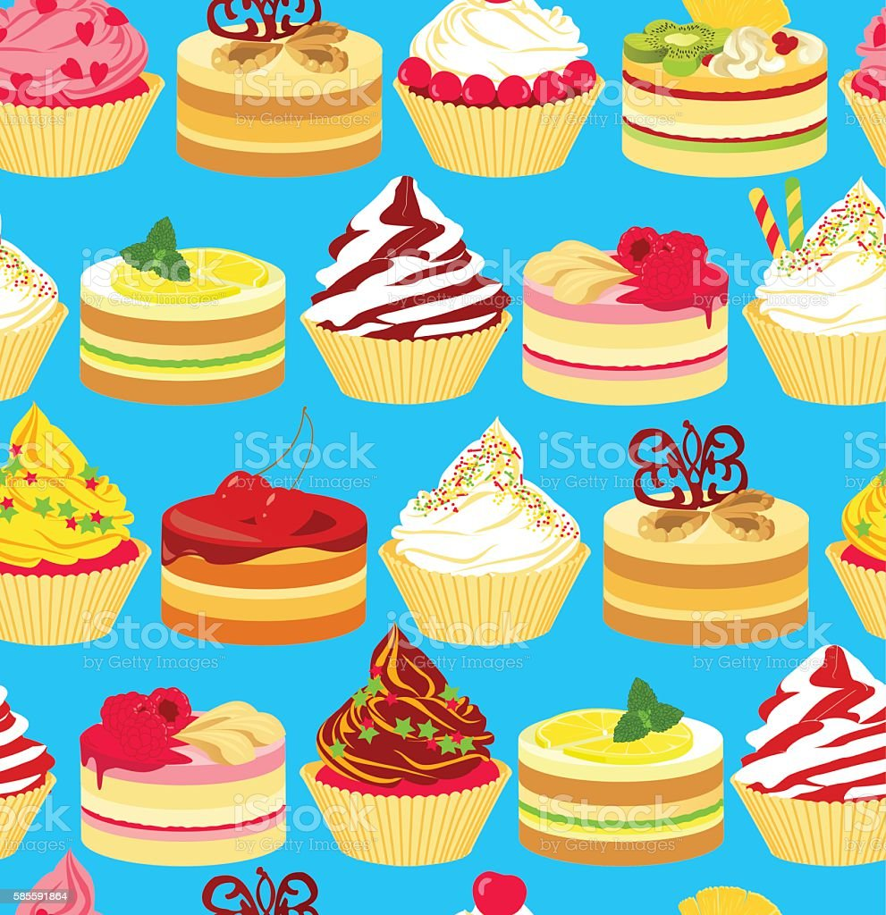 Cakes seamless vector art illustration