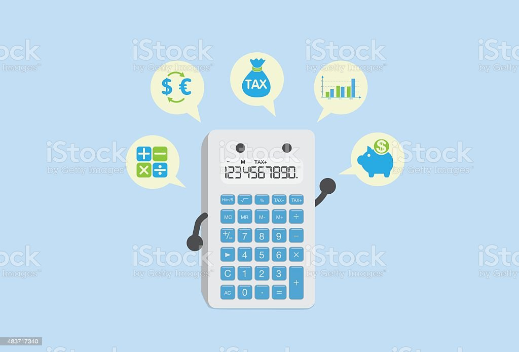 Calculate finance with calculator vector art illustration