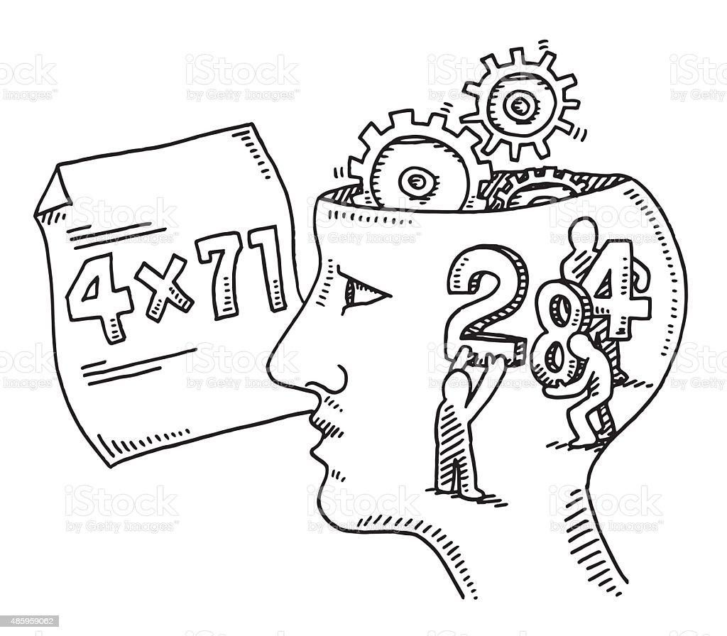 Calculation Brain Task Concept Drawing vector art illustration
