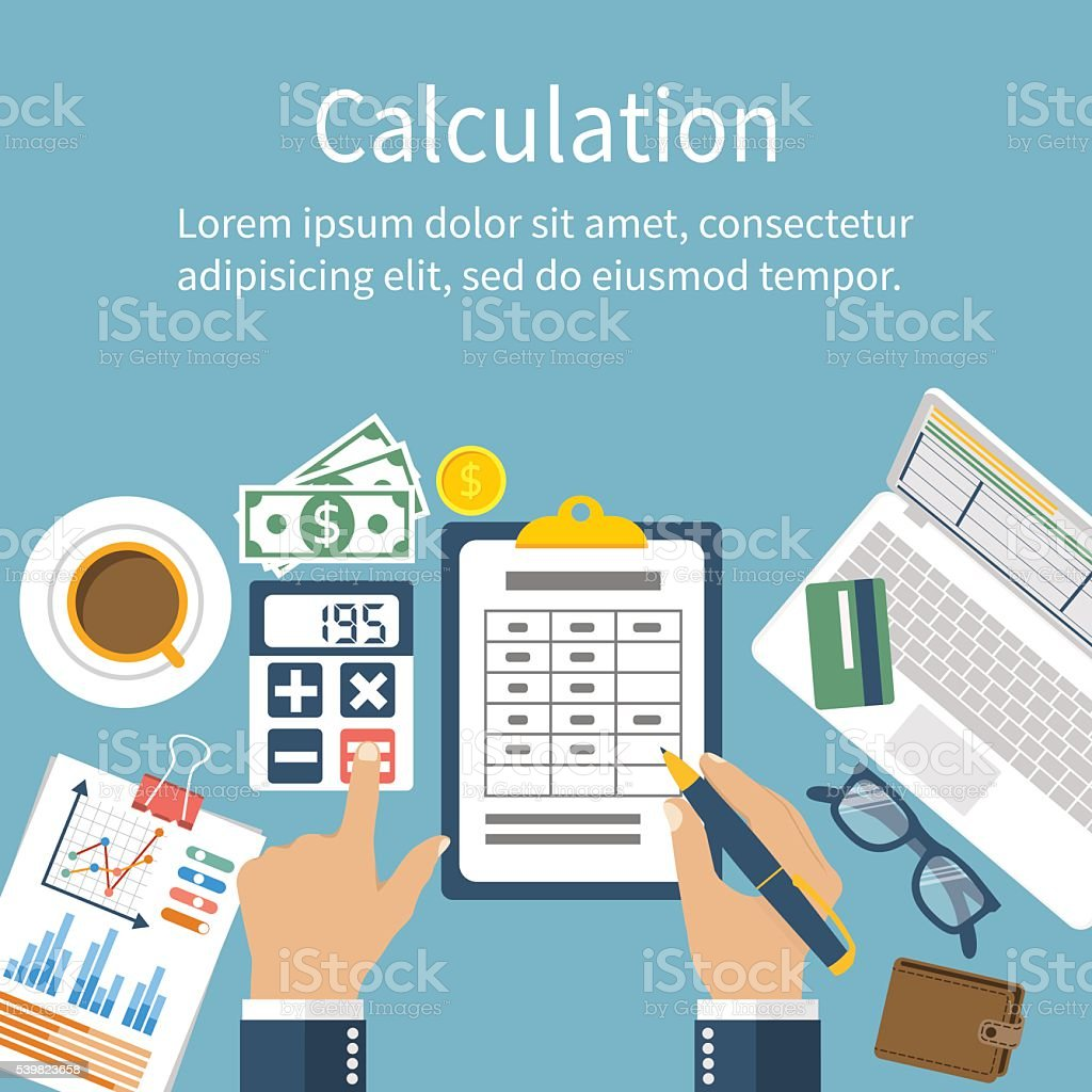 Calculation concept. Businessman, accountant vector art illustration