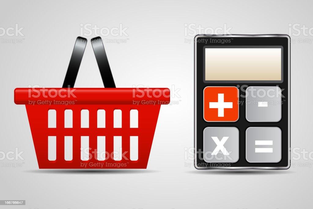 calculator and shopping basket vector illustration vector art illustration
