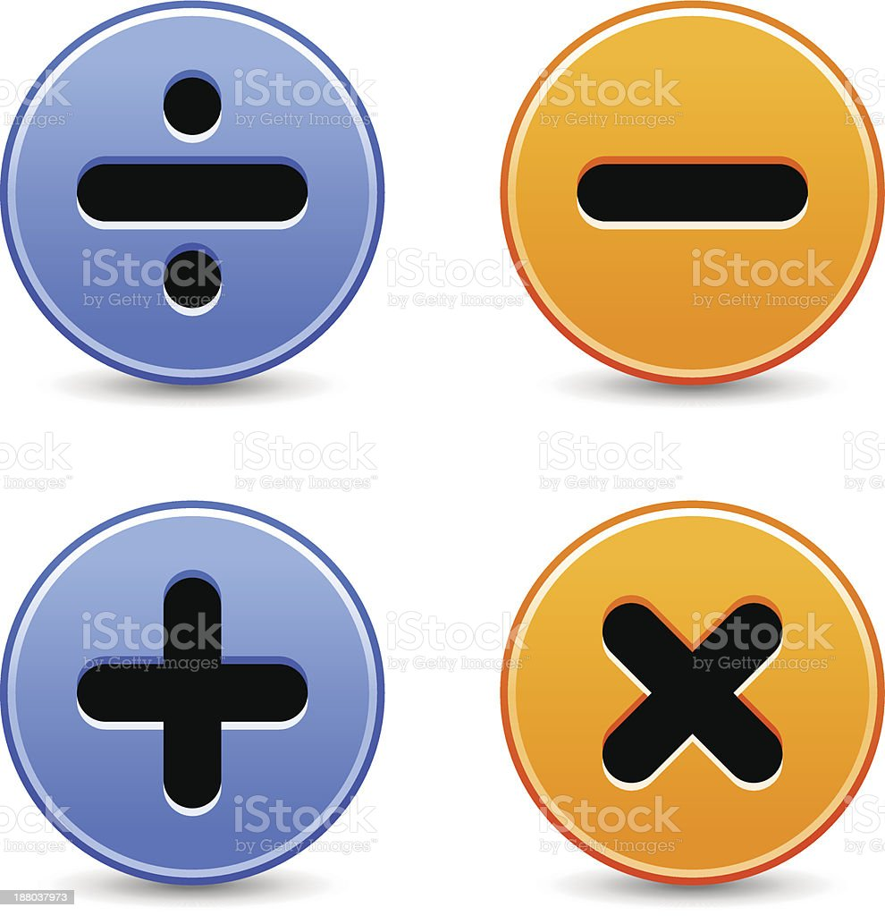 Calculator icon addition multiplication division subtraction sign royalty-free stock vector art