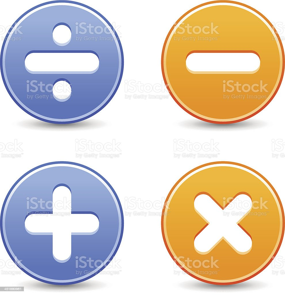 Calculator icon circle button addition multiplication division subtraction sign royalty-free stock vector art