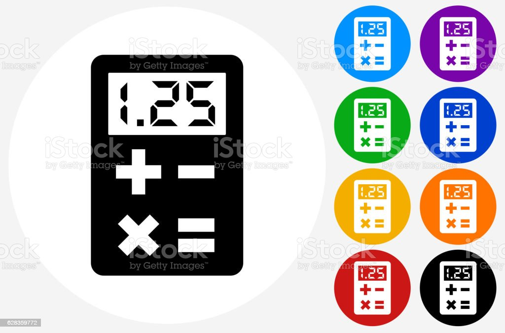 Calculator Icon on Flat Color Circle Buttons vector art illustration