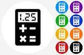 Calculator Icon on Flat Color Circle Buttons