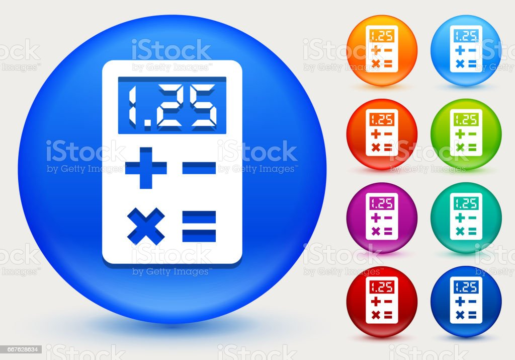 Calculator Icon on Shiny Color Circle Buttons vector art illustration