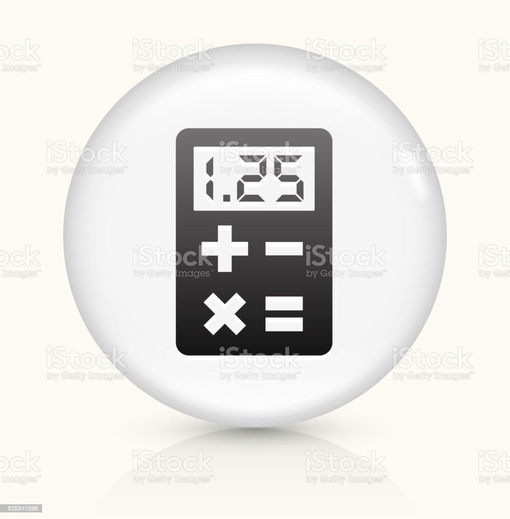 Calculator icon on white round vector button vector art illustration