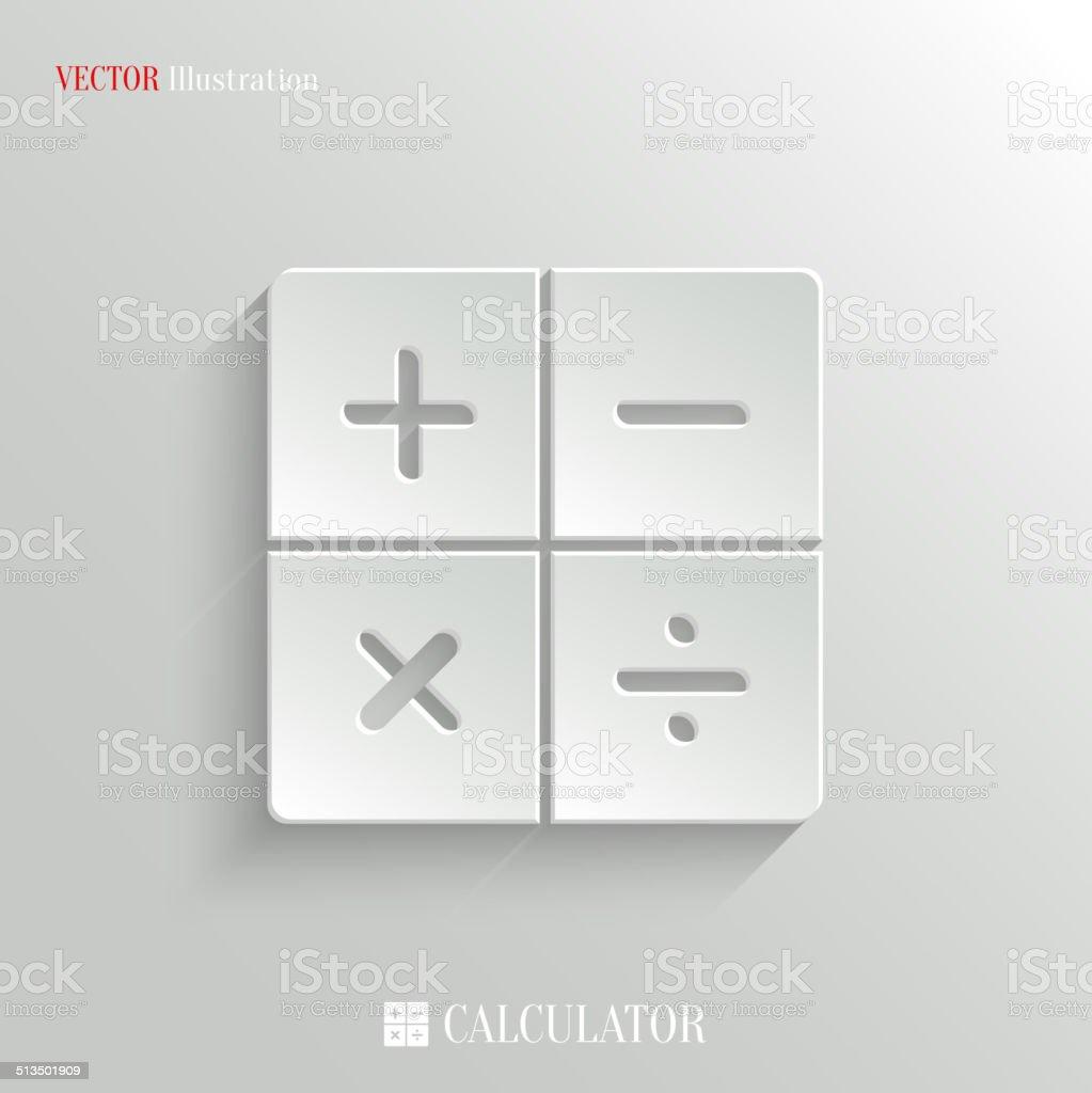 Calculator icon - vector white app button vector art illustration